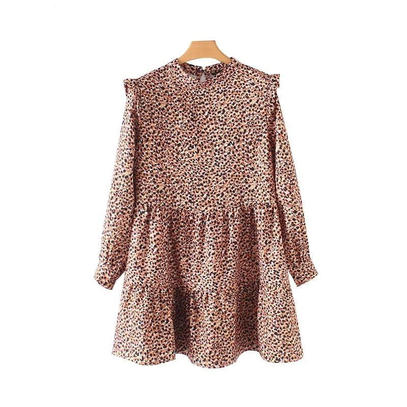 Sweet ruffled leopard mini dress