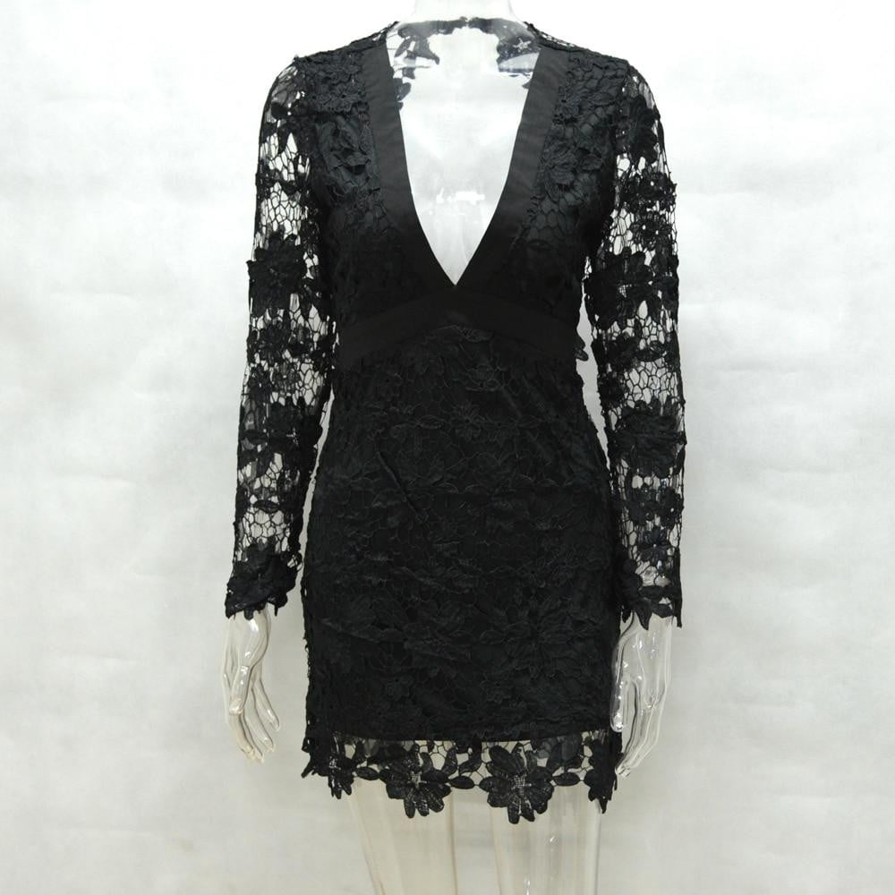 Backless Deep V Neck Lace Embroidery Hollow Out Long Sleeve Elegant Party Dress - klozetstyle.com