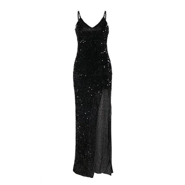 V-neck sequined spaghetti strap split plus size sexy bodycon party dress
