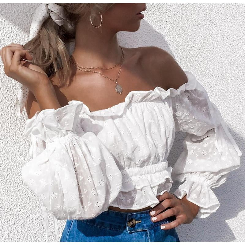 White Embroidery Off Shoulder Lantern Sleeve Top - klozetstyle.com