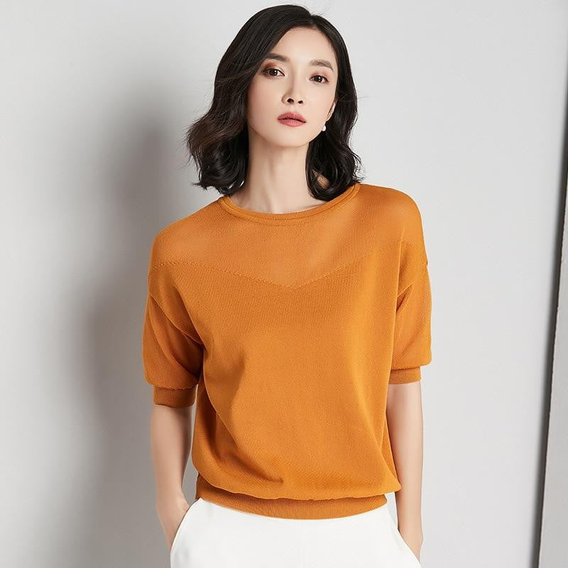 Knitted Short Sleeve Sweaters and Pullover - klozetstyle.com