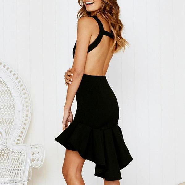 Backless Slim Fishtail Party Dress - klozetstyle.com