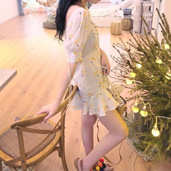 Yellow Cherry Print Dress - klozetstyle.com
