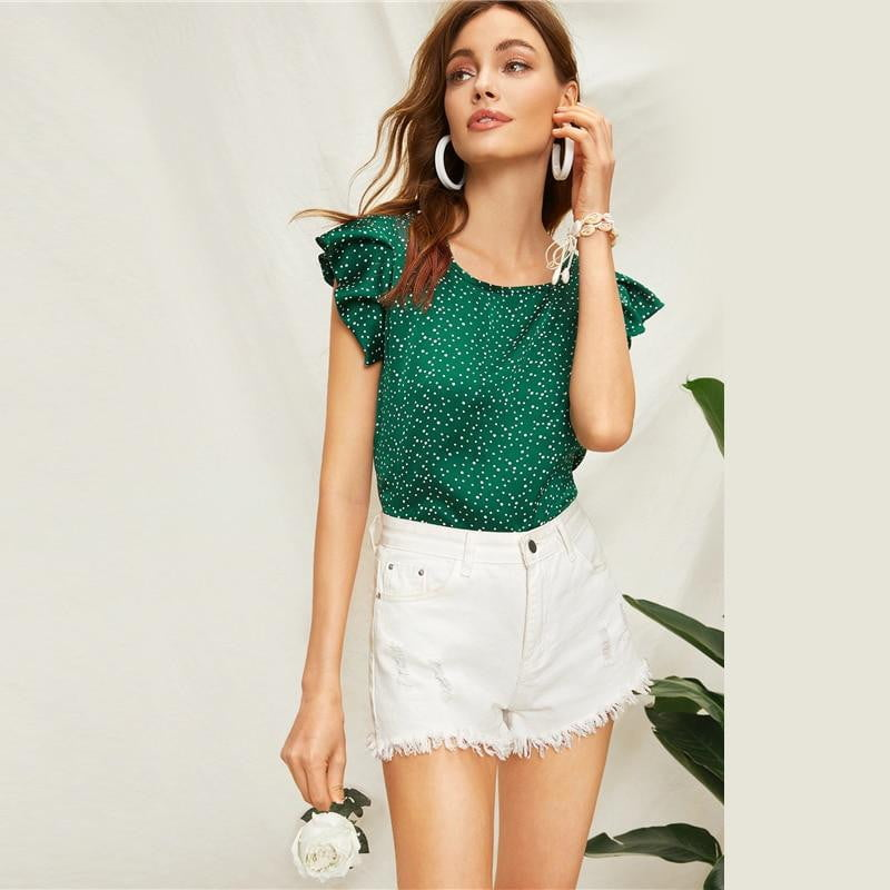Green Butterfly Sleeve Polka Dot Blouse - klozetstyle.com