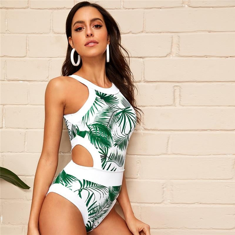 Leaf Plants Print Cut-out High Neck One Piece Swimsuit - klozetstyle.com