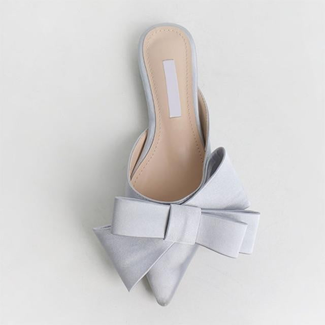 Spring and summer silk satin pointed bow tie slippers flat sandals - klozetstyle.com