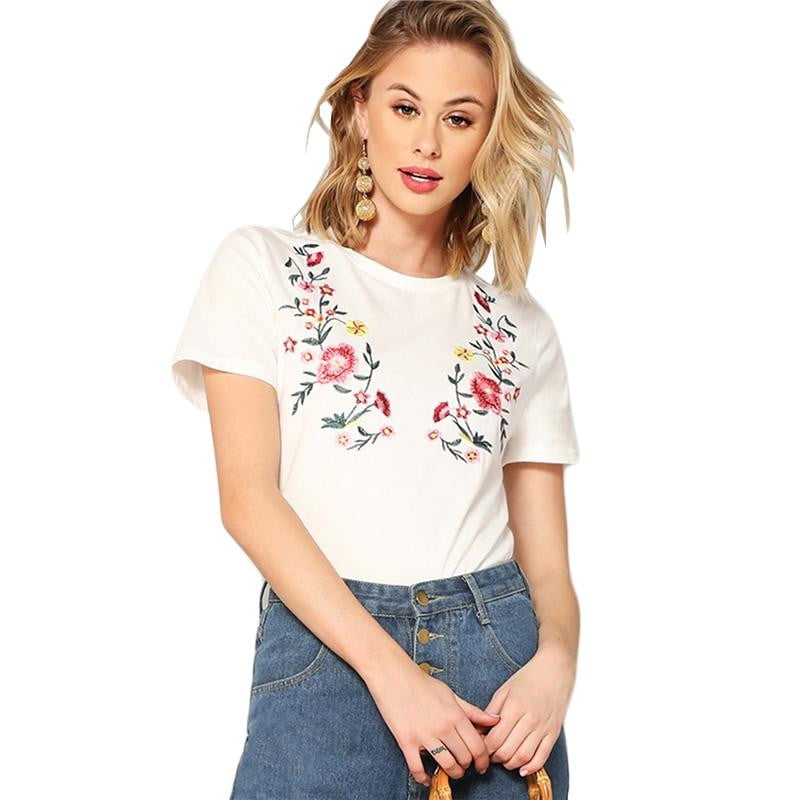 Floral Embroidered Tee - klozetstyle.com
