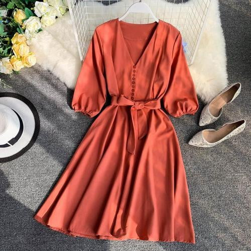 Half Sleeve Single Breasted High Waist Casual Dress - klozetstyle.com