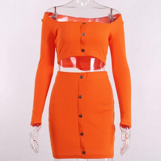 Bright Color Buttons Long Sleeve Crop Top and Skirt Set - klozetstyle.com