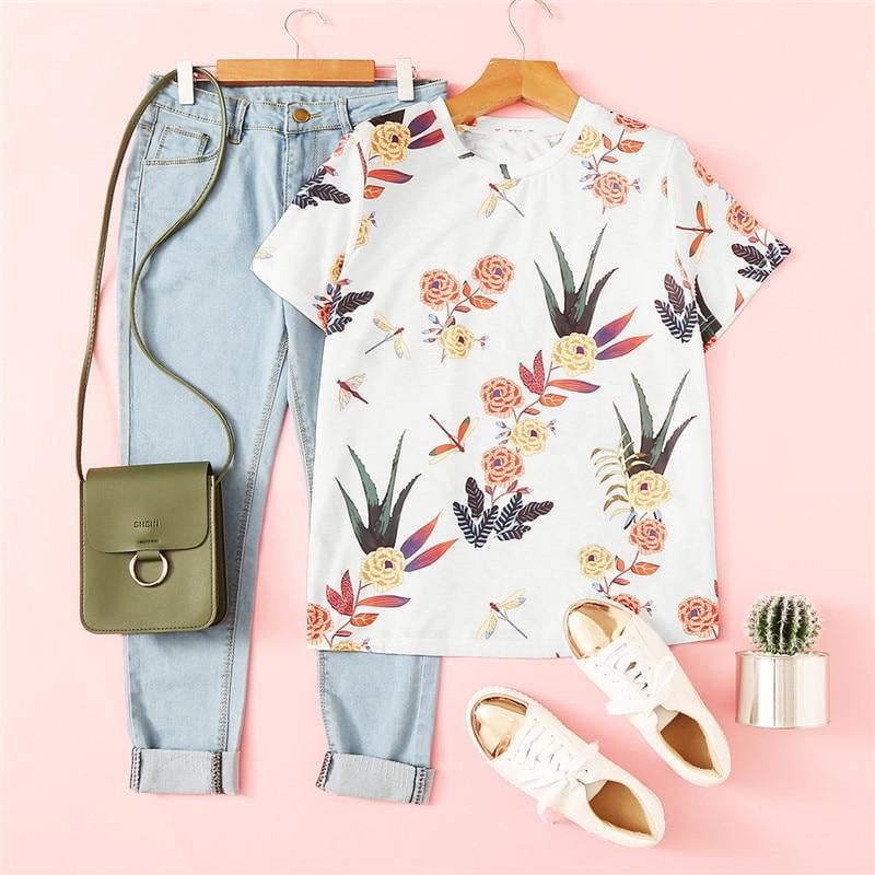 Floral And Plants Print Shirt - klozetstyle.com