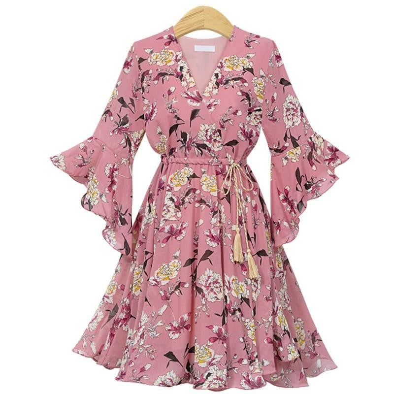 V Neck Chiffon Floral Dress - klozetstyle.com