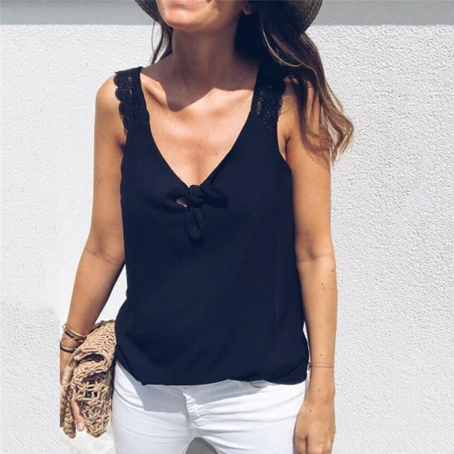 Sleeveless V-Neck Lace Top - klozetstyle.com