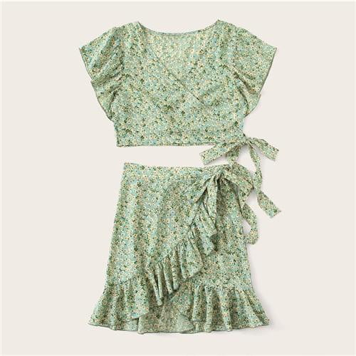 Green Ditsy Floral Wrap Top And Tie Side Skirt Set - klozetstyle.com