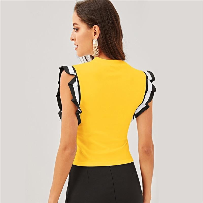 Slim Fit Striped Pleated Ruffle Armhole Top - klozetstyle.com