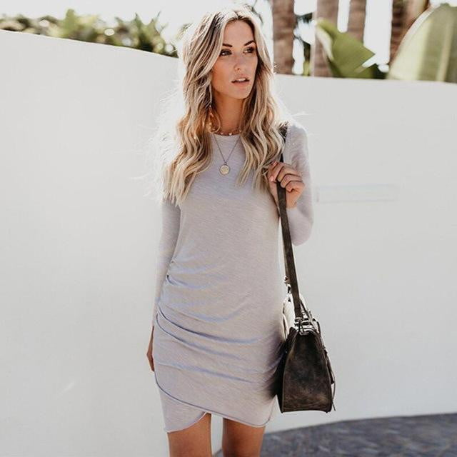 Short Sleeve Solid Bodycon Slim Casual Dress | Plus Size - klozetstyle.com