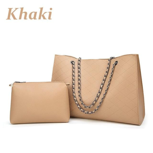 Chain Leather Tote Handbag Set - klozetstyle.com