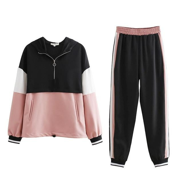 Slim Color Stitching Casual Jacket and Jogging Pants Tracksuit - klozetstyle.com