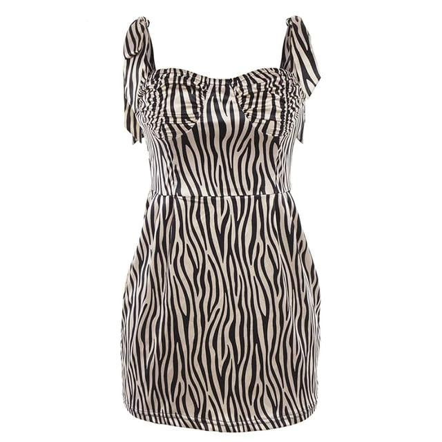 Slim Zebra Print Sleeveless Adjustable Spaghetti Strap Bodycon Casual Dress - klozetstyle.com