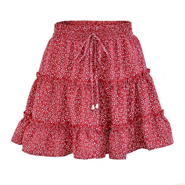 Plus Size Ruffled Floral Print Beach Short Skirt - klozetstyle.com