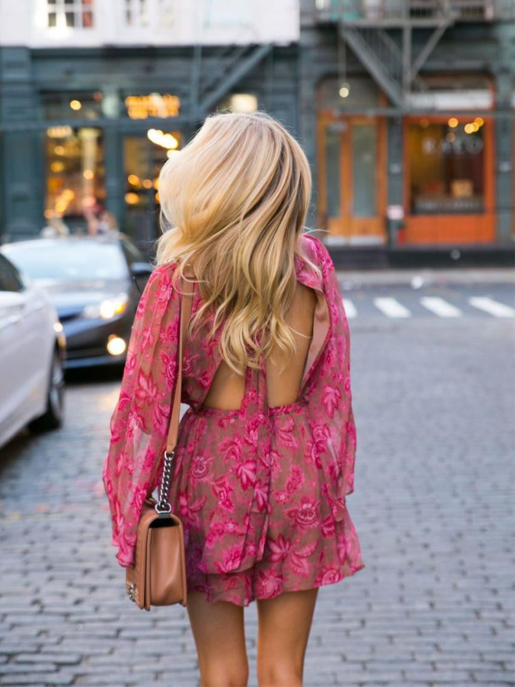 Casual Style Pink Floral Print Bohemian Beach Romper Playsuits - klozetstyle.com