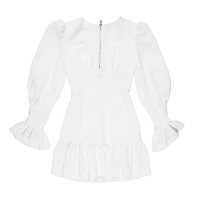 White Ruffle Dress - klozetstyle.com
