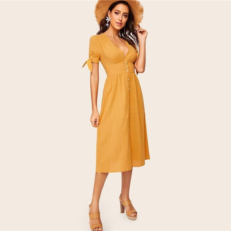 V Neck Linen Knot Cuff Button Dress - klozetstyle.com