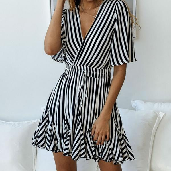 Striped Mid Sleeve V Neck Dress - klozetstyle.com