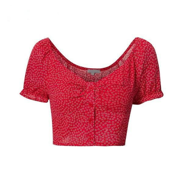 Floral Print Chic Basic Off Shoulder Red Crop Top - klozetstyle.com