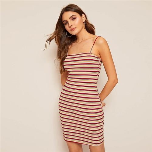 Colorful Striped Cami Bodycon Dress - klozetstyle.com