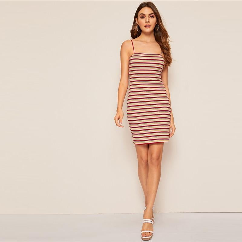 Klozetstyle Colorful Striped Cami Bodycon Dress | klozetstyle.com.