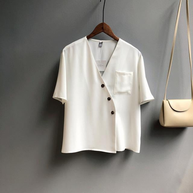Oblique Buckle V Neck Summer Shirts Short Sleeve Blouse Tops - klozetstyle.com
