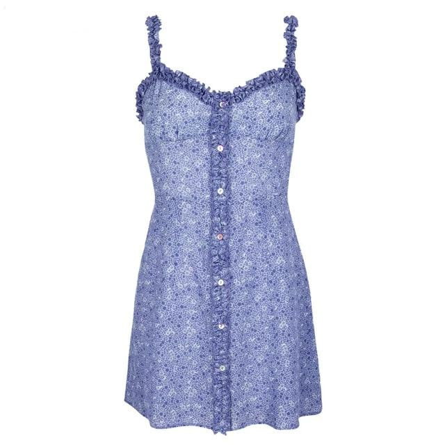 Ruffle Strap Floral Purple Mini Dress - klozetstyle.com