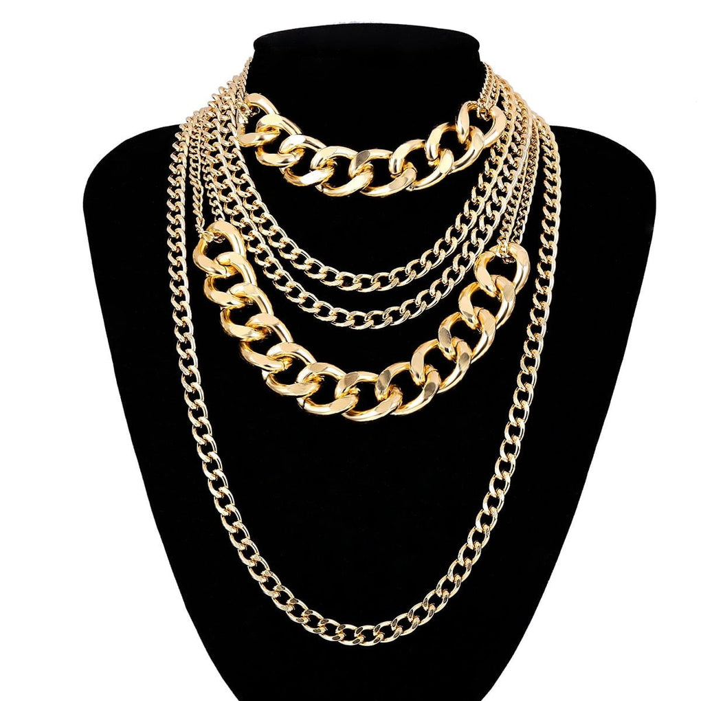 Punk Exaggerated Big Layered Thick Cuban Link Chain Choker Necklace - klozetstyle.com