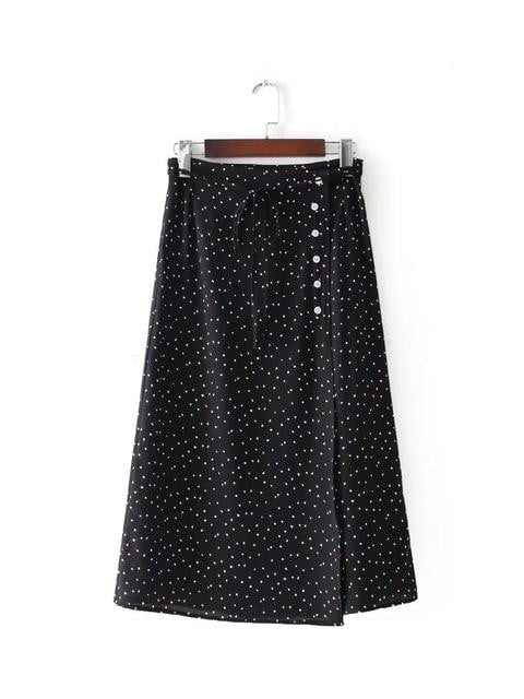 Wine red Dot Print knee length chiffon Skirt - klozetstyle.com