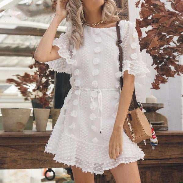 White Casual Ruffle Sash Dot Mini Dress - klozetstyle.com