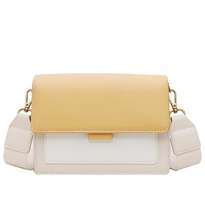Contrast color Leather Crossbody Bag - klozetstyle.com
