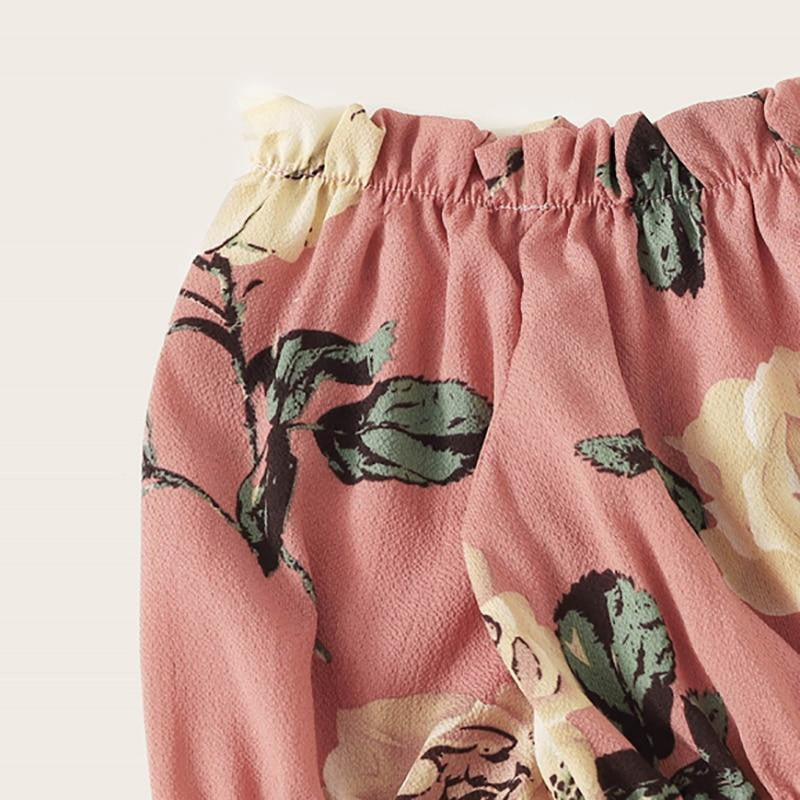 Pink Off Shoulder Frill Floral Print Top With Shorts Set - klozetstyle.com