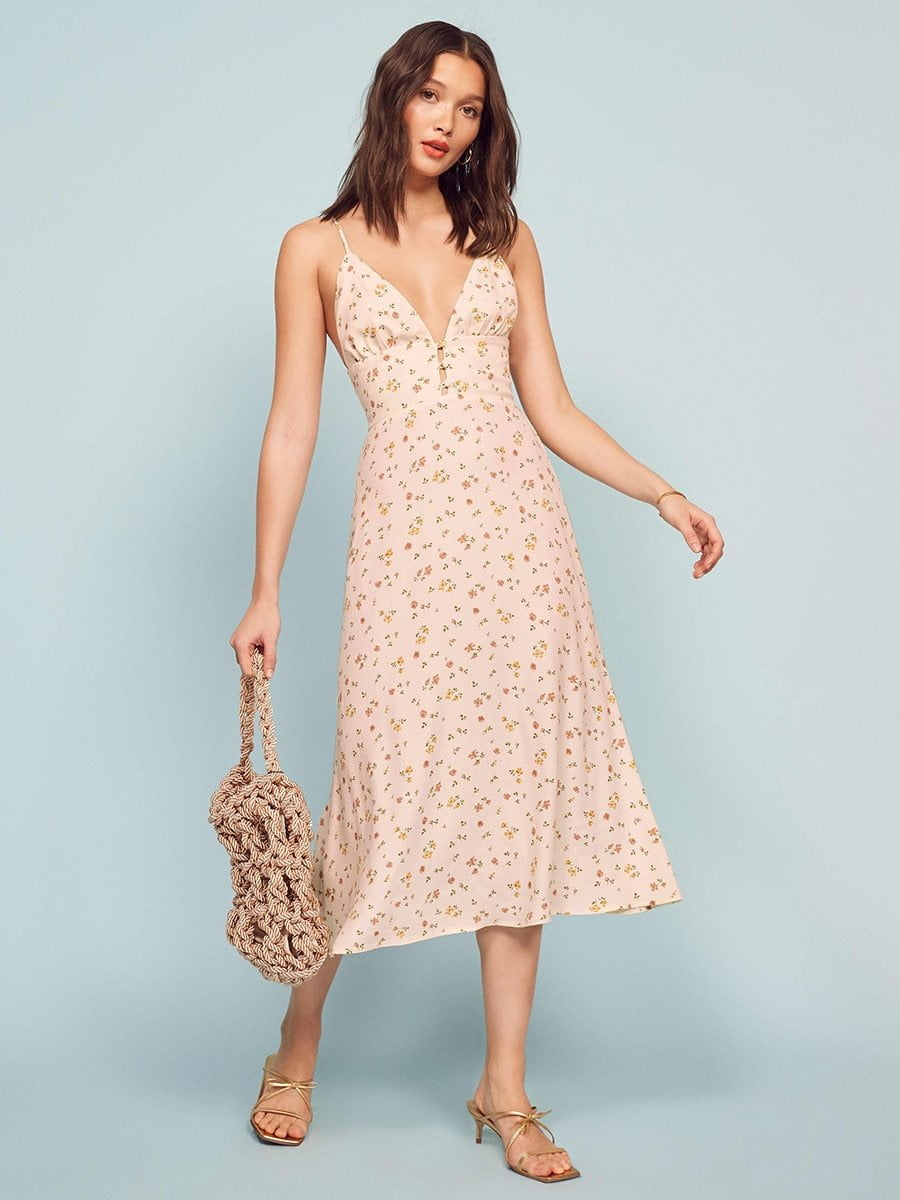 ,klozetstyle-com,Floral Chic Sleeveless Button-Up Slim Type Midi Dress