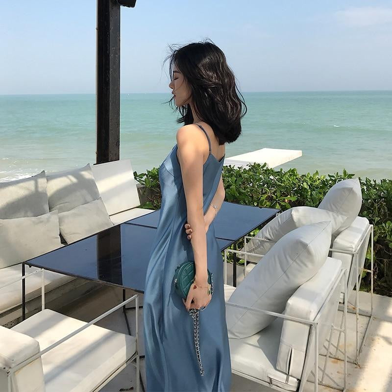 Backless Sexy Ice Silk Smooth Strap Casual Solid Color Beach Party Club Dress - klozetstyle.com