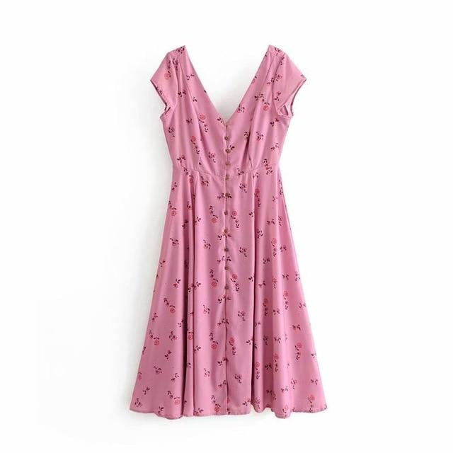 Summer Pink Floral Vacation Midi Dress - klozetstyle.com