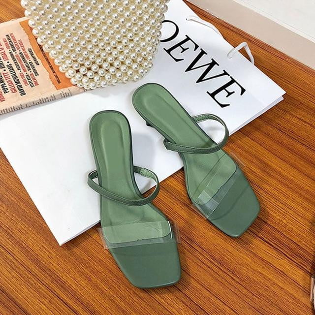 Transparent Geometric PVC High Heel Solid Slipper Sandals - klozetstyle.com