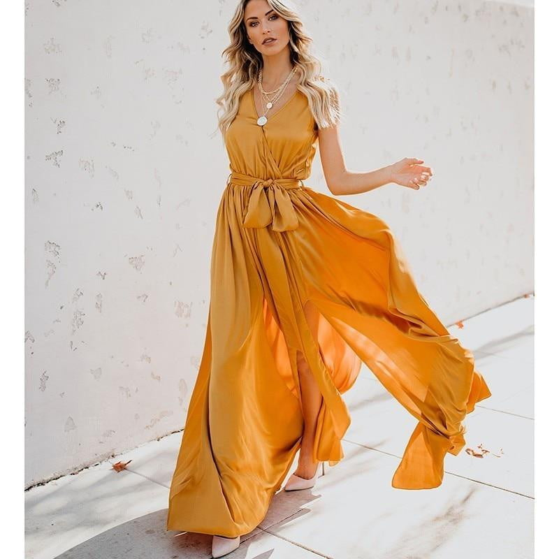 Belt Split Long Pleated Bohemian Style Beach MaxiDress - klozetstyle.com