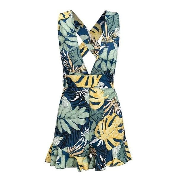 Bohemian leaf print sashes back cross yellow romper - klozetstyle.com