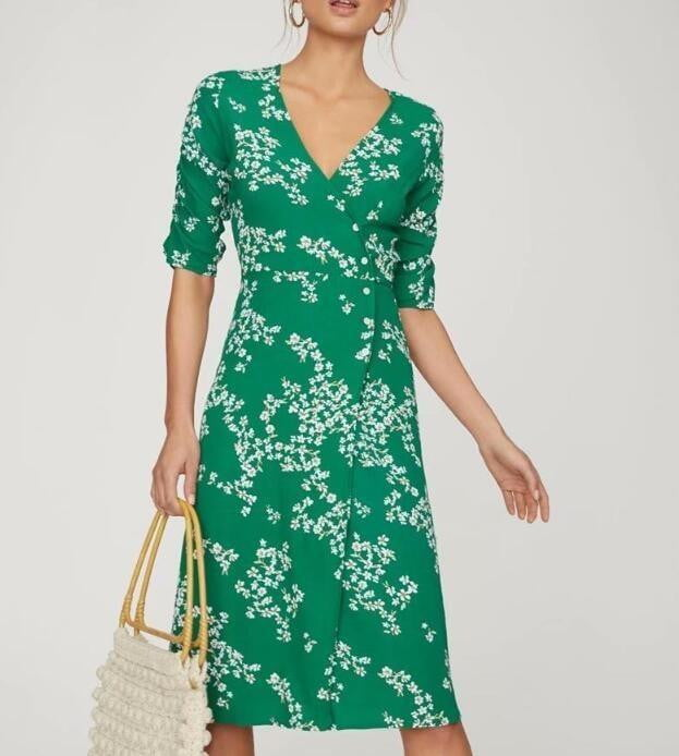 Chic Green Floral Printing Long Dress - klozetstyle.com