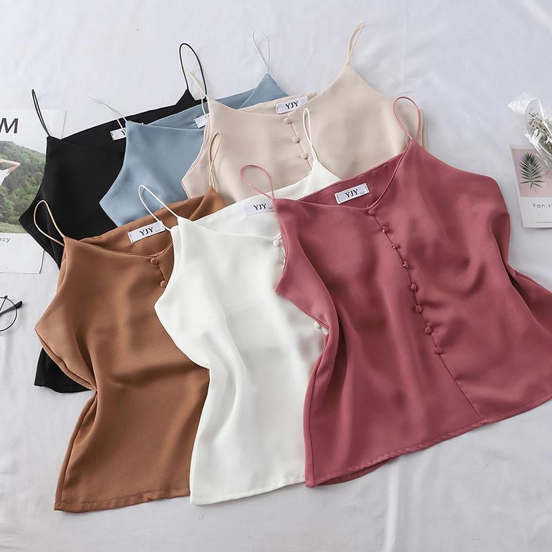 Solid Color V Neck Sleeveless Satin Cami Tops - klozetstyle.com