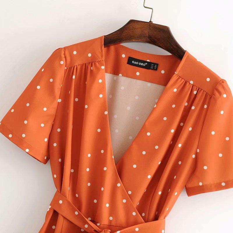 Orange Polka Dot Dress - klozetstyle.com