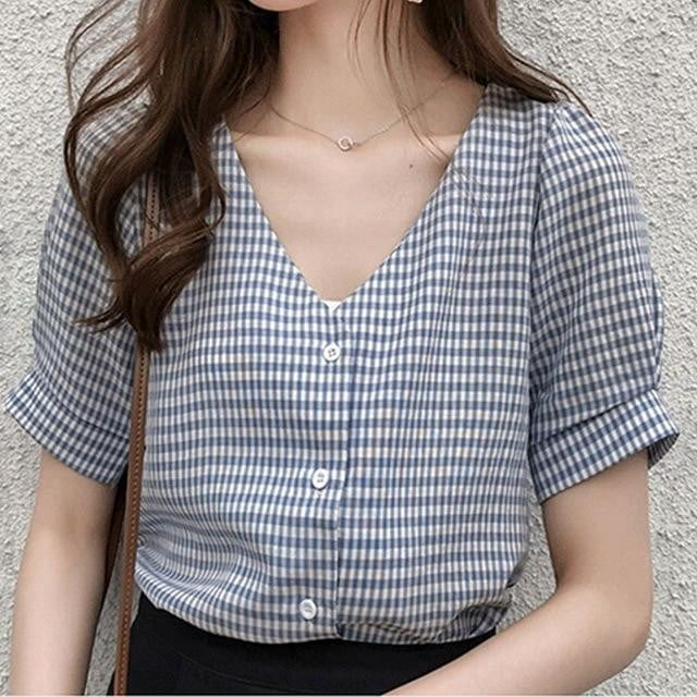 Short Sleeve Plaid V Neck Blouse - klozetstyle.com