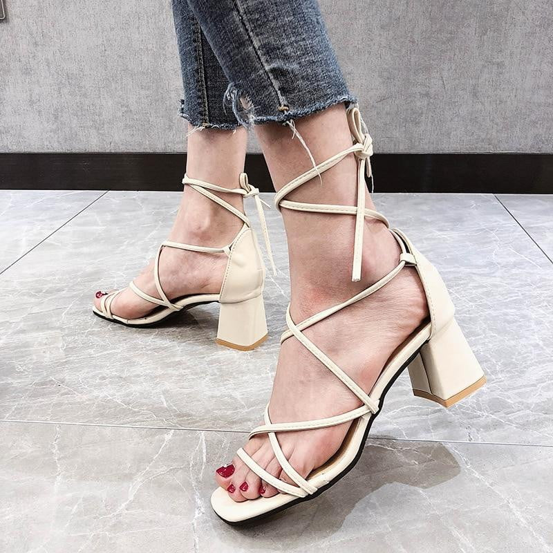 Cross Bandage Lace-Up High Heels Peep Toe Sandals - klozetstyle.com