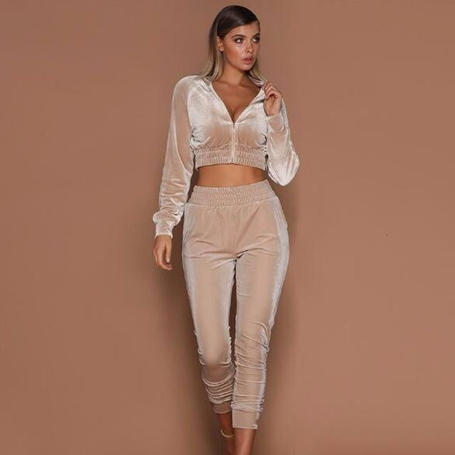 Two Pieces Set Hoodie Top And Pant Tracksuit - klozetstyle.com