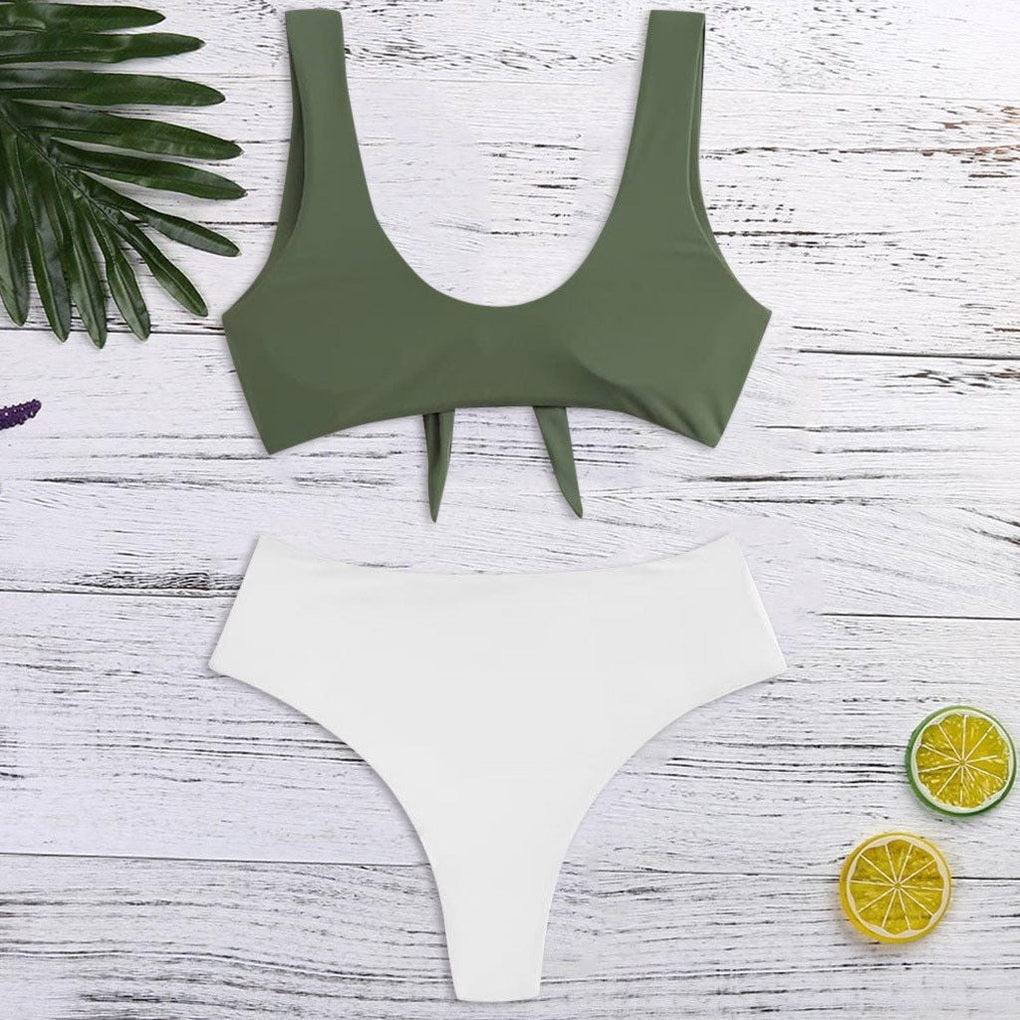 White Solid Tankini Swimsuits - klozetstyle.com